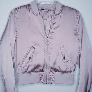DIVIDED pink satin bomber jacket.